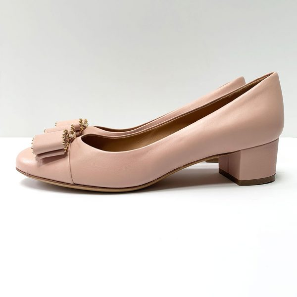 Salvatore Ferragamo Vara Pink Leather Low Block Heel Pumps
