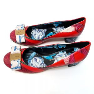 Salvatore Ferragamo Red Foulard Print Leather Vara Pumps