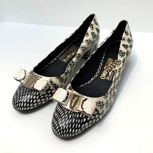 Salvatore Ferragamo Vara Snake Embossed Bow Block Heel Pumps