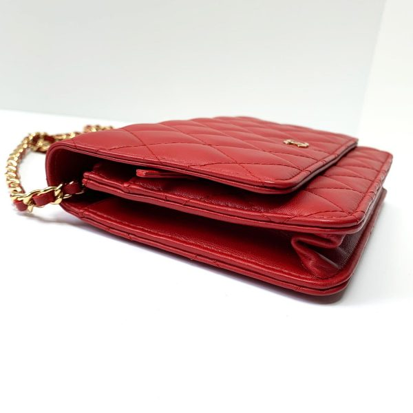 CHANEL Red Leather Wallet On Chain Bag