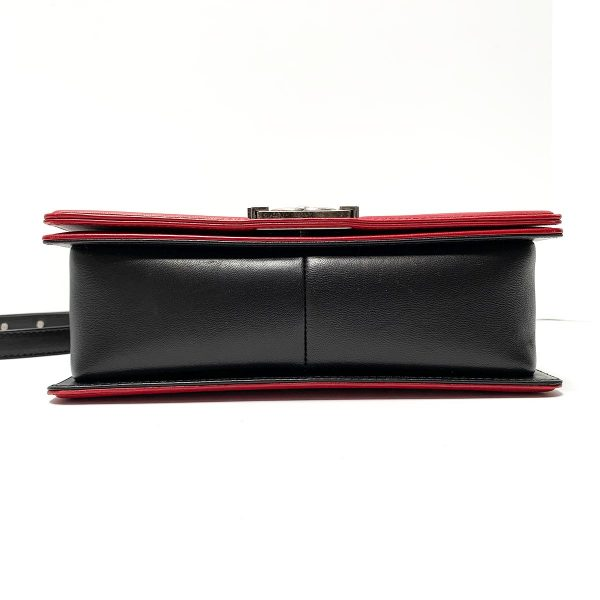 Chanel Bicolor Medium Boy Red & Black Calfskin Leather Bag