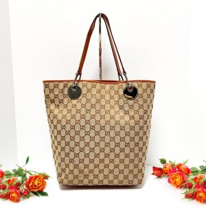 GUCCI GG Monogram Canvas Bucket Tote 120836