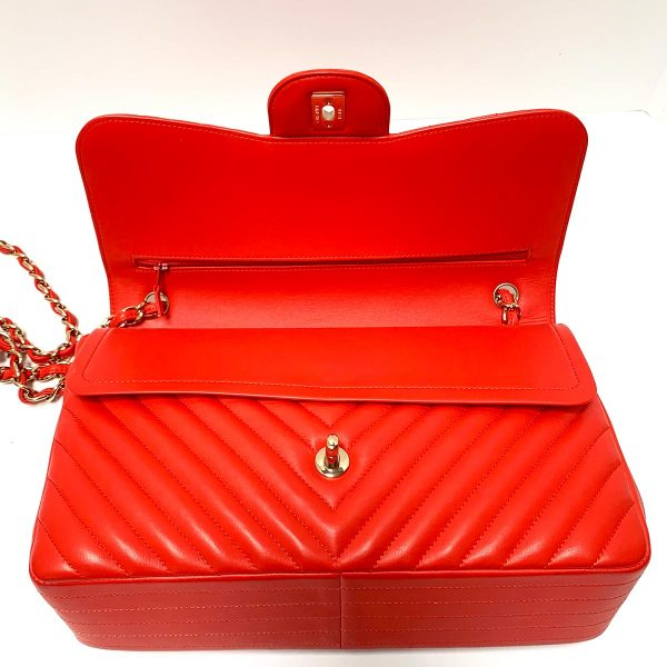 CHANEL Chevron Quilted Red Lambskin Double Flap Jumbo Flap Bag with Gold Hardware