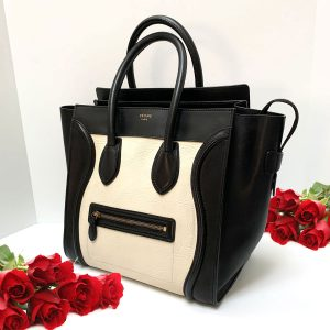 CELINE Mini Luggage Tote Bag in Bicolor Drummed Calfskin