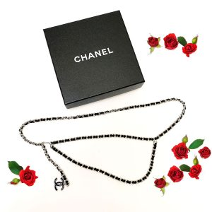 CHANEL Bijoux Chain Black Interlaced Leather Belt